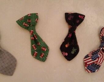 Over the Collar Dog Neck Tie - Skulls, Footbals, Patriotic Flag, Grey -- all proceeds to animal charity