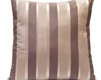 Silver & Purple Gray Pillow, Throw Pillow Cover, Decorative Pillow Cover, Cushion Cover, Pillowcase, Accent Pillow, Silk Blend, Stripe Cover