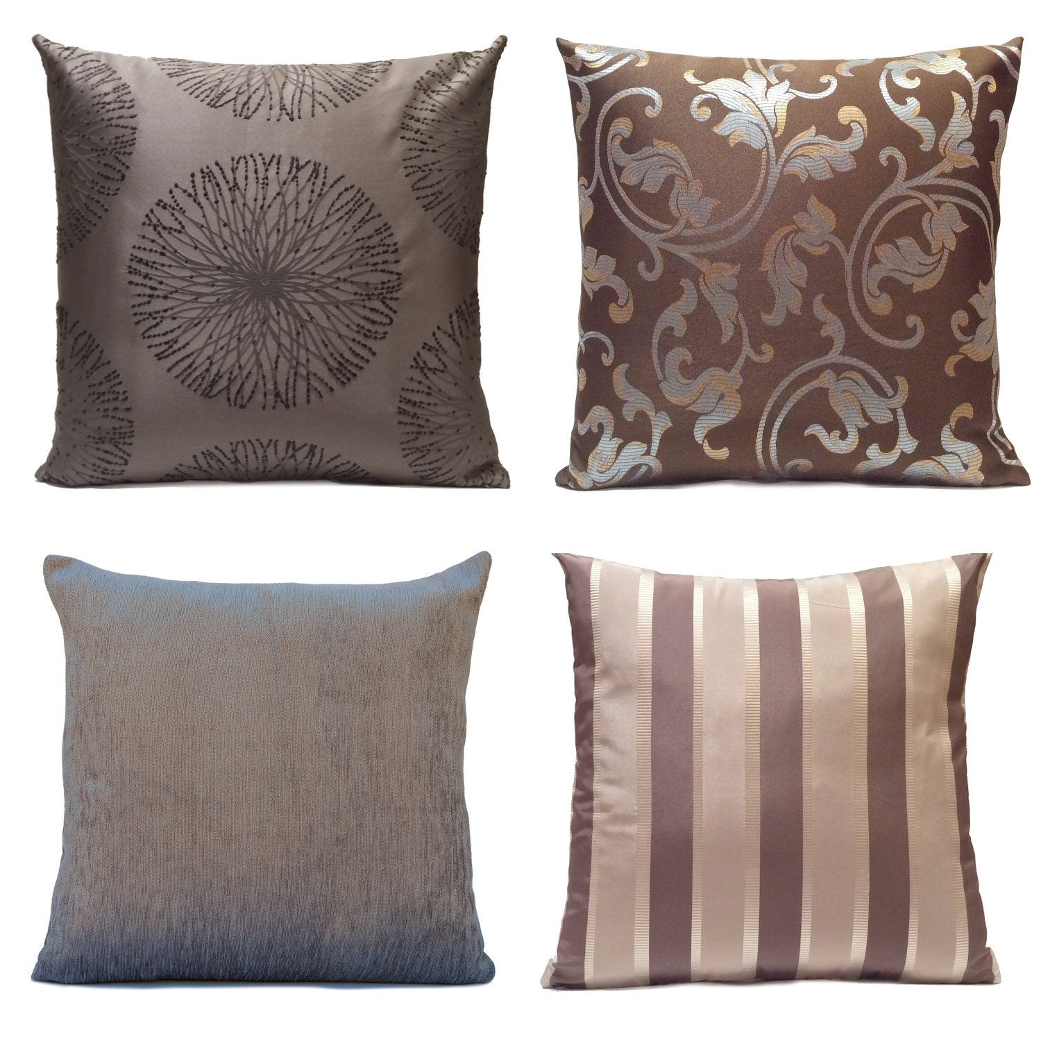 Silver & Purple Gray Pillow Throw Pillow Cover by SHPillows