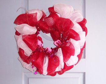 Valentine's Day Meash Wreath - Heart Shape - Red & White