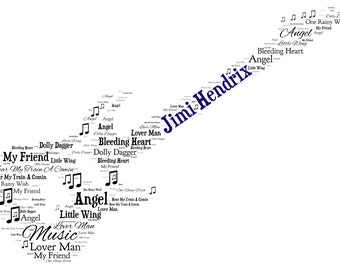 Personalised Word Art - A Guitar design - A4 Print or Digital File