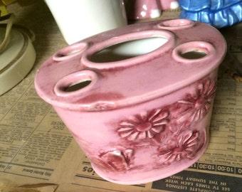 Vintage Handmade Ceramic Pink Floral Toothbrush Holder