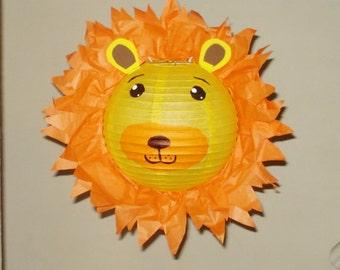 Lion Paper Lantern. Safari Party Decorations, Baby Shower, Room Decor, nursery decor. Jungle party.
