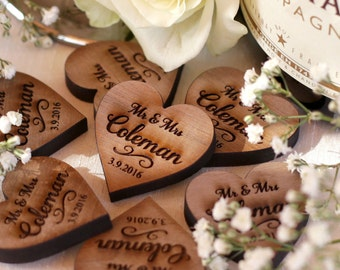 Personalised Wooden Mr & Mrs Love Hearts Wedding Table Decoration Favour Walnut 3cm x 3cm