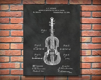 Patent 1888 Violin  - Designed by Columbus Hudson - Musical Stringed Instrument  -  Wall Art - Music Room Art - Orchestra Wall art