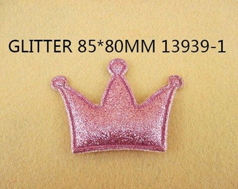 1 Piece - 85mm - PUFFY Glitter Crown - Light Pink - Accent - Flat Back Flatback Approx. 3 inches - PRINCESS