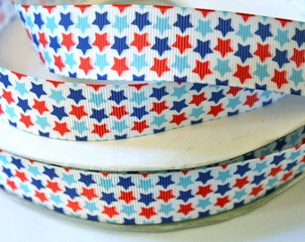 1 inch - Tiny Stars on White - 4th of July, Red, White and Blue- Printed Grosgrain Ribbon for Hair Bow