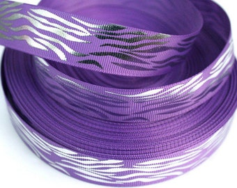 7/8 inch Silver Zebra on Purple (horizontal)- ANIMAL PRINT - Printed Grosgrain Ribbon for Hair Bow