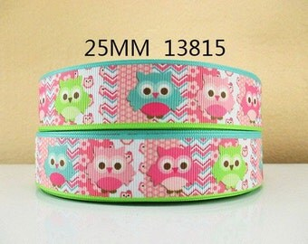 1 inch Cute Owls on Pastel Blocks 13815 Owl Printed Grosgrain Ribbon for Hair Bow