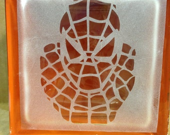spiderman glass block