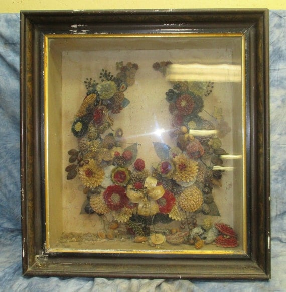 Victorian Mourning Art Showcase Display Cabinet Seed Picture