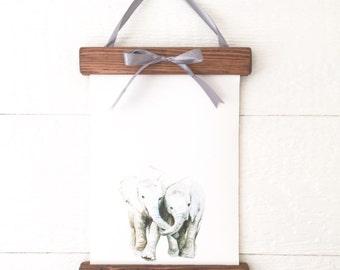 Rustic Frame Elephant PRINT - Baby Animal Print - Elephant Painting - Baby Elephant Painting - Safari Animal Painting - Elephant - Baby Room