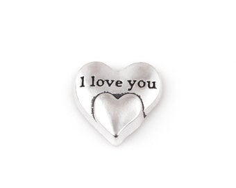 Silver Heart Floating Charms, I love you Floating Charms, Love Memory Locket, Glass Locket Charm