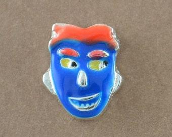 Men Blue Face Floating Charm, Face Charm, Men Face Memory Locket Charm, Head Floating Locket Charm