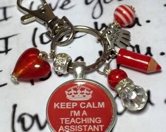 "Teaching Assistant keyring, teacher assistant gift, gift for teacher, ""Keep calm i'm a teaching assistant"" handmade gift"
