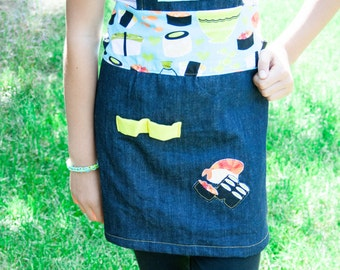 Kitchen apron for little chef kids asian sushi