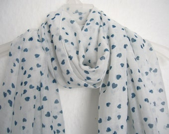 Blue Hearts Scarf, White And Blue Heart Scarf, For Her, Spring, Summer Scarf, Autumn Scarf