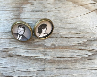 JFK and Jackie O Brass Post Earrings