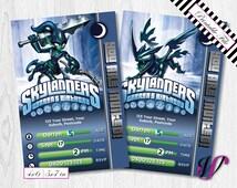2 Skylanders Birthday Invitations - Trap Team - Dark - SLD-I