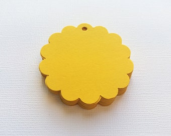 25 Sunshine Yellow Scallop Circle Hang Tags, Gift Tags, Party Favor - 2""