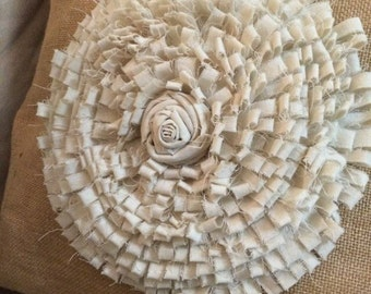 Calico and hessian flower cushion