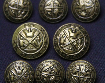 Class Club Blazer Buttons Set Antique Brass Shank