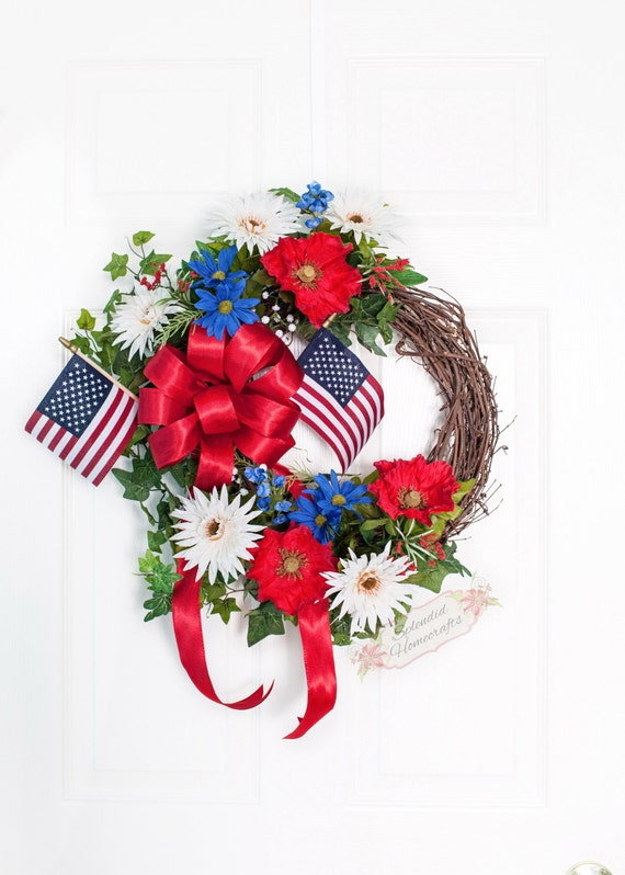 Patriotic Grapevine Wreath Red Outdoor Wreath July 4th