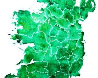 Ireland Watercolour Map  - Print