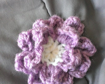 crocheted flower hair clip