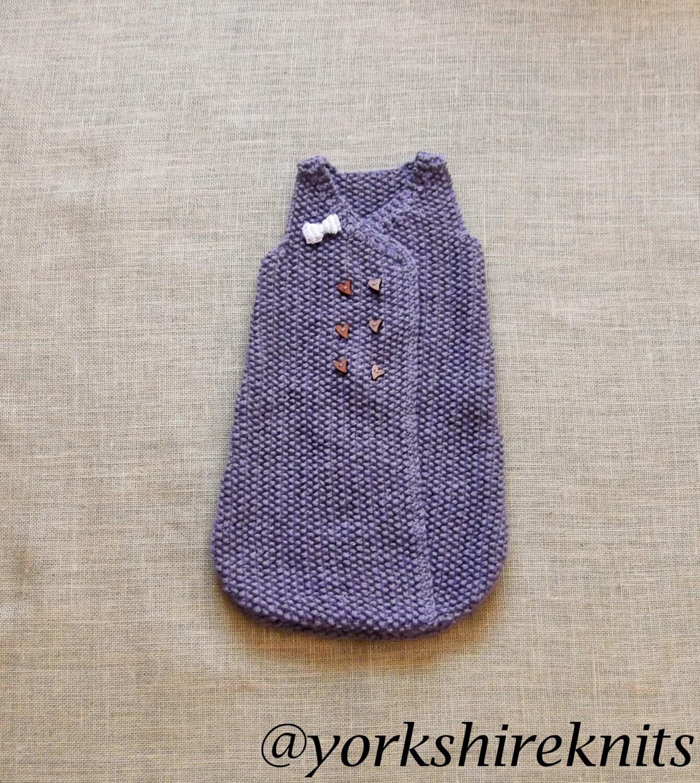 Hand Knitted Baby Girl Sleep Sack Sleeping Bag 50 Merino Wool