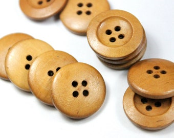 12pcs - 21mm Light Brown Wooden Buttons - 4 Hole Wood Button
