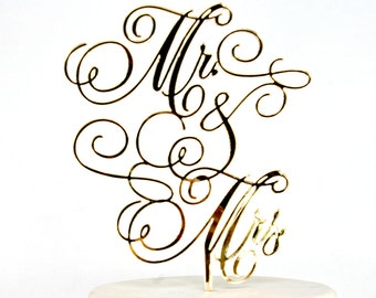 Calligraphy Mr and Mrs Cake Topper, Gold, with ampersand, or custom material