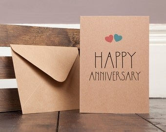 Anniversary Greetings Card Recycled homemade text typography modern