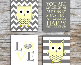 Kids (D) - You Are  My Sunshine - Owl - Gray Yellow - 4 Parts