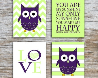 Kids (D) - You Are  My Sunshine - Owl - Purple Lime Green - 4 Parts