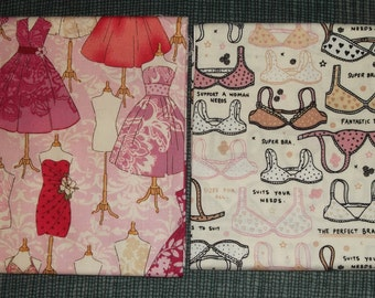 2 lovely cotton fabric fat quarters bra's/dresses/pink