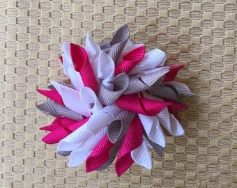 Baby hair clip, korker bow, infant headband, ponytail holder, gray white and pink hair clip