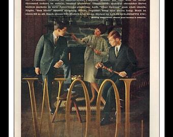 "Vintage Print Ad September 1962 : Wool Council Louis Goldsmith Renart Wool Suite Wall Art Decor 8.5"" x 11"" Print Advertisement"