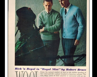 "Vintage Print Ad September 1962 : Robert Bruce Wool Wall Art Decor 8.5"" x 11"" Print Advertisement"