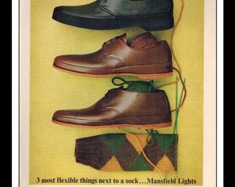 "Vintage Print Ad September 1962 : Mansfield Lights Collection Shoes Fashion Clothing Wall Art Decor 8.5"" x 11"" Advertisement"