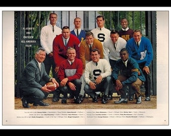 "Vintage Print Ad September 1962 : All American Team Football Jim Dunaway, Sonny Gibbs 2 Page Wall Art Decor 16"" x 11"" Advertisement"