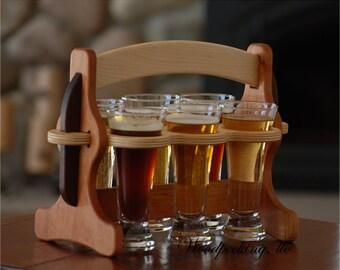 Wooden Wood Wine Bottle Glasses Caddy Carrier Tote Custom