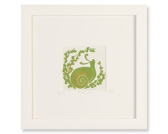 SNOOTY SNAIL -  Limited-Edition, Hand-Pulled Framed Print