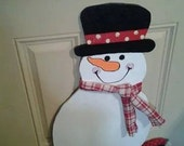 Large Snowman Door Hanger  CIJ Christmas in July Sale