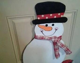 Large Snowman Door Hanger  CIJFAAP2016 Christmas in July Sale