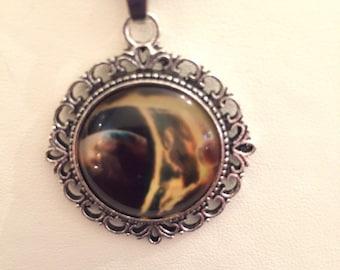 SALE celestial universe black yellow silver pendant on black suede necklace