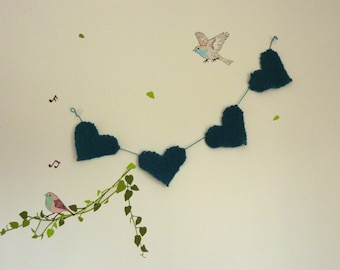 Garland of hearts -  Blue - Love - Bunting - Home - Wool - Baby or adult - Decoration
