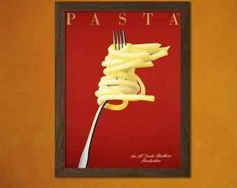 Pasta Poster -  Vintage Kitchen Poster Alcohol Drink Retro Wall Decor Office decoration Art Prin   bpt