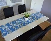 ON SALE !100% Organic   Blue Table Runner   Blue Otomi Table Runner   Blue bed cover   Mexican Table Runner   Animal pattern table runner