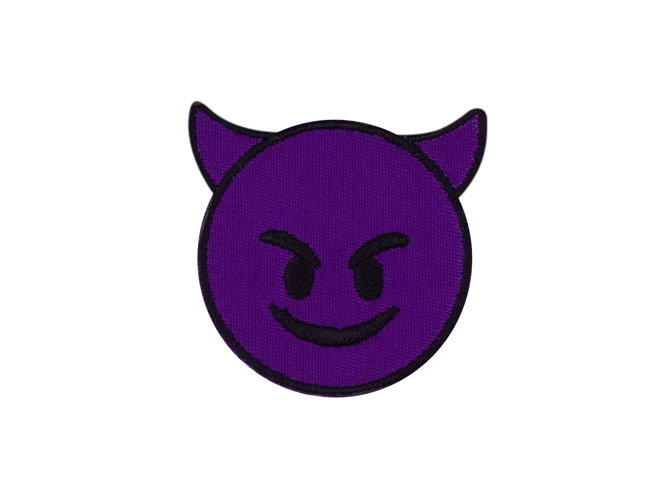 Cuernos De Diablo Png: Smiling Face With Horns Devil Emoji Embroidered Iron On Patch